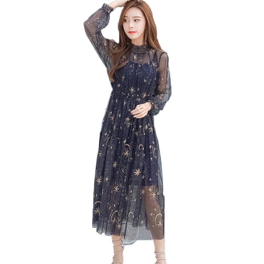 22b4c6ae99 Sexy Mesh Sommer Kleid Frauen 2018 Bestickt Sterne Falten Kleid Mode Puff  Sleeve Damen Lange Kleider