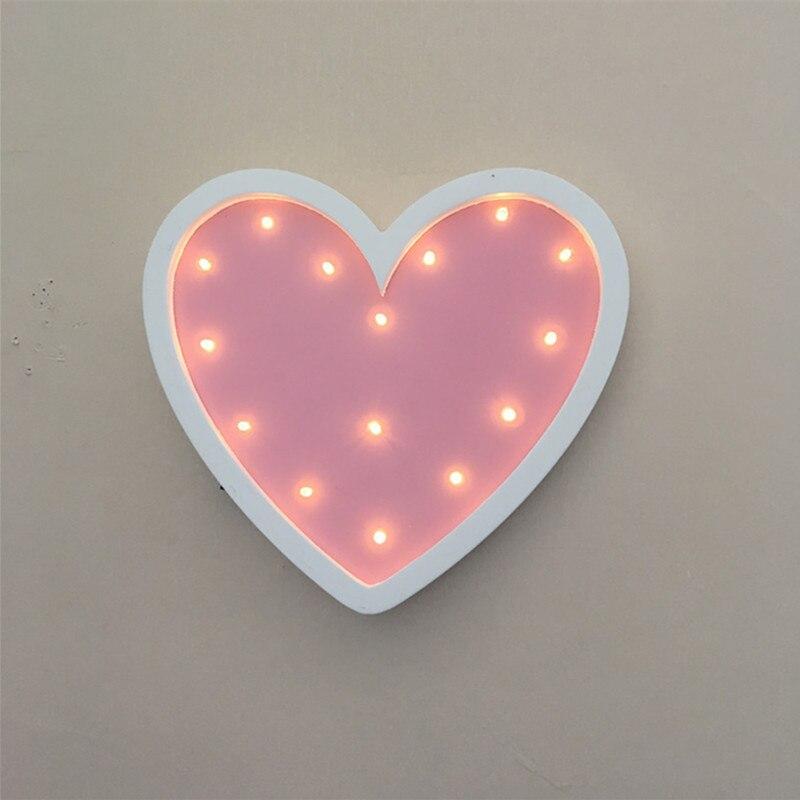 Heart Led Night Light Wooden for Baby Children Kids Gift Table Lamp ...