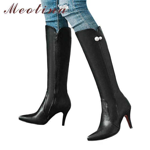 Meotina 高ヒールニーハイブーツ冬の女性のブーツストリングビーズ背秋ファッションの女性の靴黒 2018 ビッグサイズ 45 46