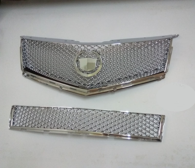 2PC fits for Cadillac SRX ABS Chrome Mesh Top Grille Replacement