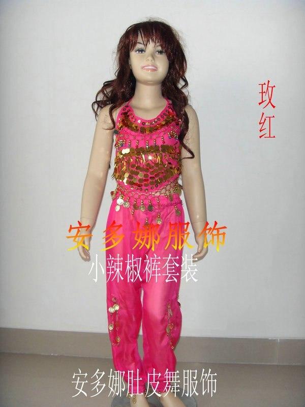 Танец живота костюм комплект Топ и Штаны Fit Детская высота 90-130 см, дети От 6 до 13 лет 6 видов цветов Выберите - Цвет: Dark pink