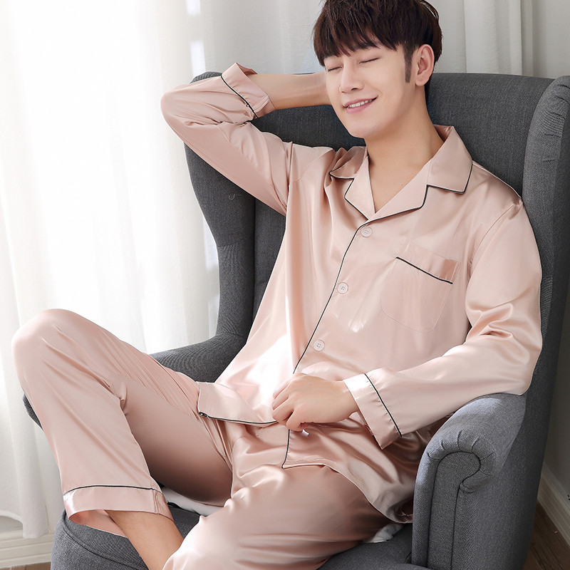 2018 Winter Men's Stain Silk   Pajama     Set   Men   Pajamas   Silk Sleepwear Men Sexy Modern Style Soft Cozy Satin Nightgown Men