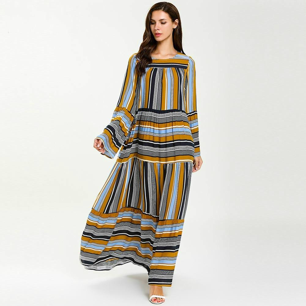 Nightgown Plus Size Nightgown Long Sleeve Strip Sleepwear Causal Homewear Cloth Night Dress Arabic Nightwear Dress Muslim Dress