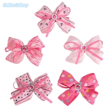 10pcs/lot Korea Style Kids Bowknot Hairpins Lace Ribbons Crystal Hair Clips Girls Headdress Hair Styling Tools