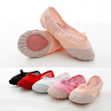 Soft Canvas and Leather Head Ballet Shoes for Girls Kids Children High Quality Dance Slipper Dance(China)