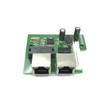 OEM usine directe mini rapide 10/100 mbps 2 ports ethernet réseau lan hub commutateur carte pcb deux couches 2 rj45 1 * 8pin port de tête