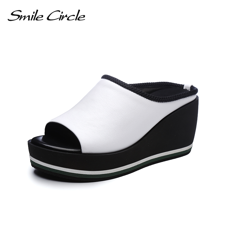 Smile Circle 2018 Summer slippers Sandals Woman shoes High-heeled shoes Casual Sandals Women Shoes Flat wedges Women flip flop new women sandals low heel wedges summer casual single shoes woman sandal fashion soft sandals free shipping