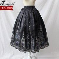 Gothic Women's Midi Skirt Church Printed A line Skirt by Alice Girl Pre order