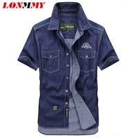 M 5XL Denim Shirt Men Cotton Brand Clothing Camisa Social Military Style Mens Shirts Cotton Short