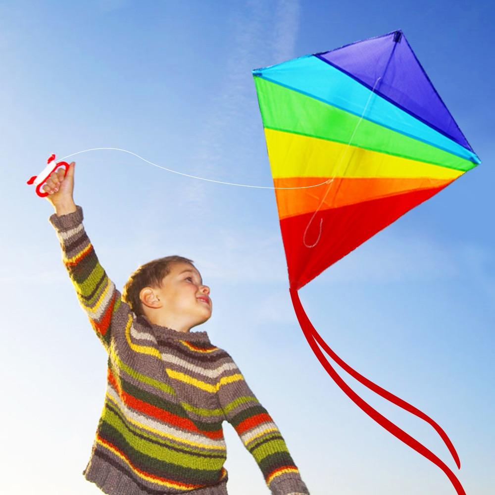 2019 Kite for Kids Adults Easy Flyer Rainbow Kites Best Beach Summer Outdoor Toy Durable Nylon Kite