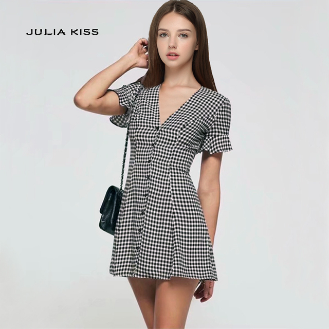 9a6893cb372af US $14.9 10% OFF|Women Vintage V Neck Button Gingham Dress with Ruffle  Short Sleeves Gingham V Neck Mini Dresses-in Dresses from Women's Clothing  on ...