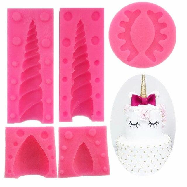 5 шт./компл. 3D Unicornio Ear Eye силиконовая форма для детского торта на день рождения инструменты для украшения торта Единорог помадка Шоколадные формы для мастики