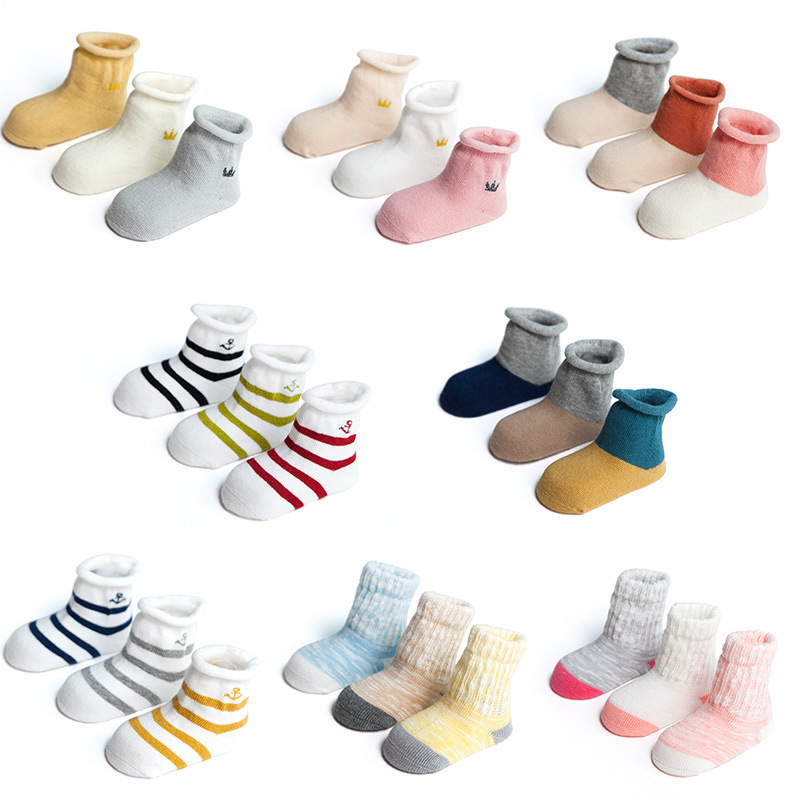 3 pairs of new styles spring and autumn cotton socks for men and women 1-3 infants pure cotton boneless tube songkou newborn.
