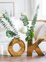 Nordic Home Decoration Luxury Gold OK Vase For Wedding Centerpieces Party Office Tabletop Personalized Ceramic Flowers Filler