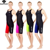 HXBY swimwear girls racing swimsuits sharkskin professional swimsuits knee one piece competition swim suits one piece