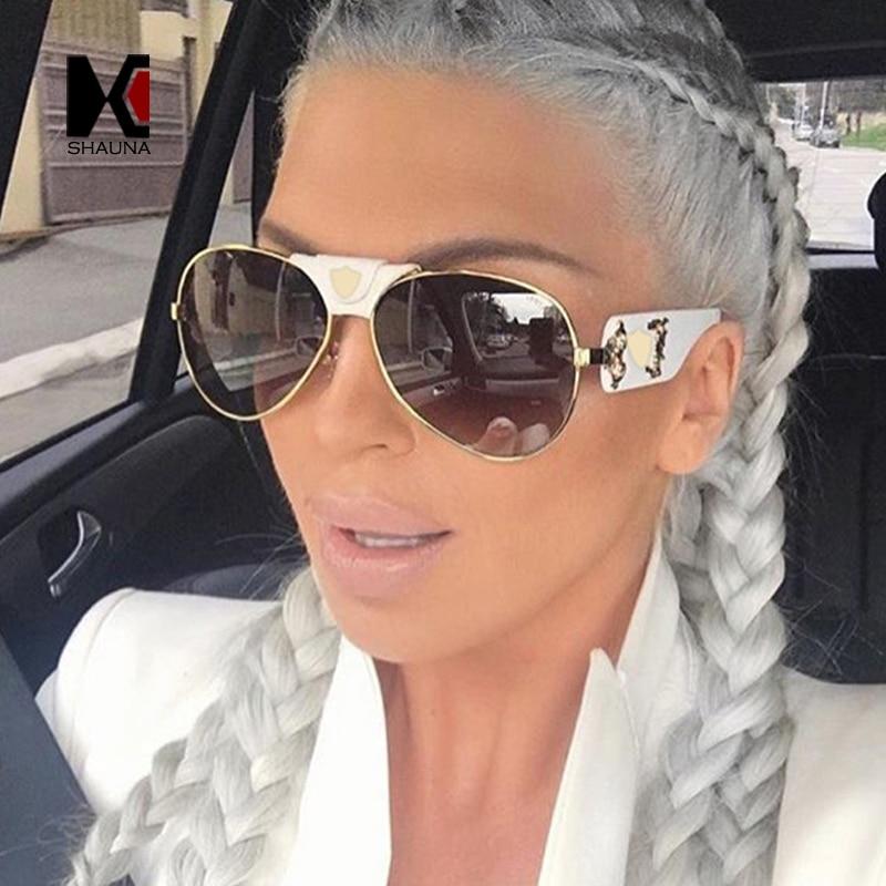SHAUNA PU Cuoio di Lusso Ponte Delle Donne Pilota Occhiali Da Sole Moda Uomo Lente A Specchio Occhiali Da Sole UV400