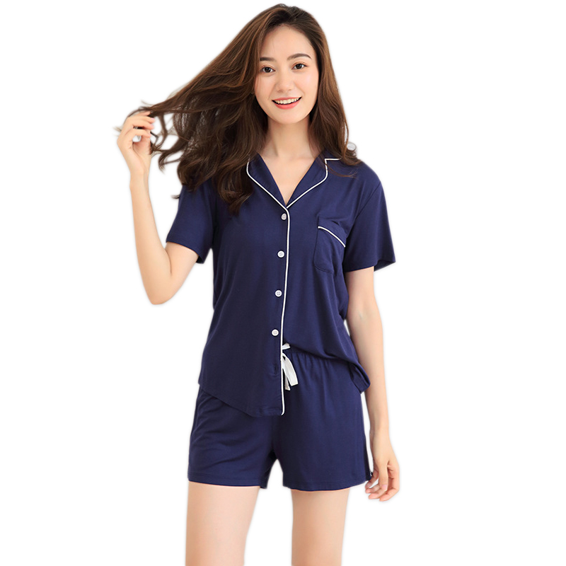 Modal Short Pajamas Sets Women Summer Short Sleeves Sexy Simple Homewear Indoor Women Pyjamas