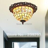 MAMEI Toptan Tiffany Ücretsiz Kargo 110-240 V Kapalı 10 Inç Tiffany Stil Tavan Işıklar Ile Kabuk lamba Gölge