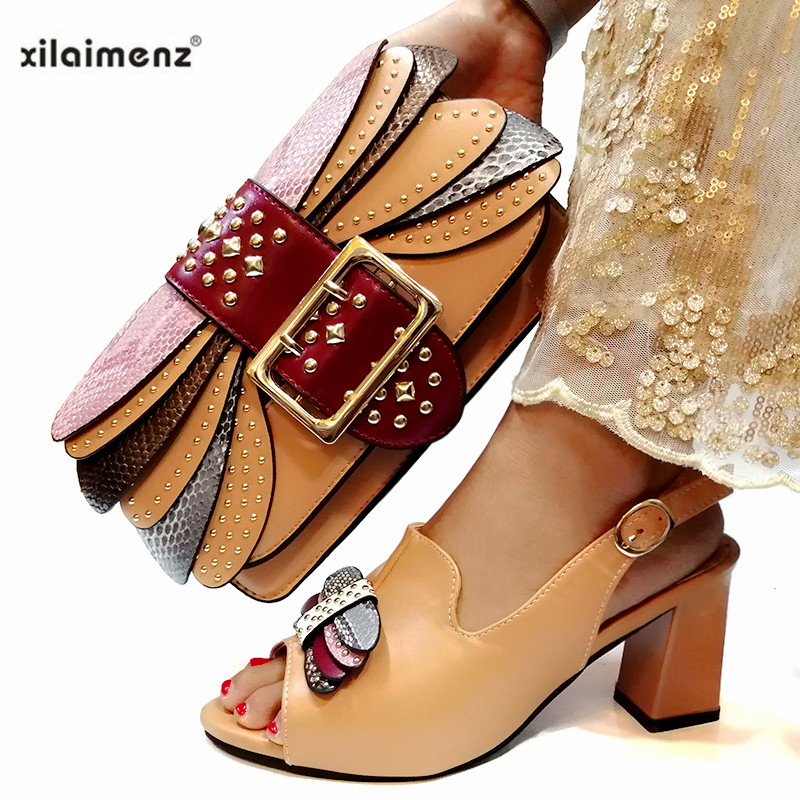 2019 African Special Design Ladies Shoes And Bag Sets Khaki Color Italian Shoes With Matching Bags Comfortable Heels Women Shoes