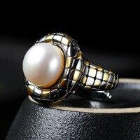 Барокко жемчужное кольцо Мода Европа и Америка плед стерлингового серебра 925 открытие на заказ Бесплатная доставка