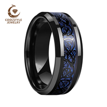 Black Men Ring Wedding Band Tungsten Ring With Blue Carbon Fiber Black Dragon Inlay Comfort Fit