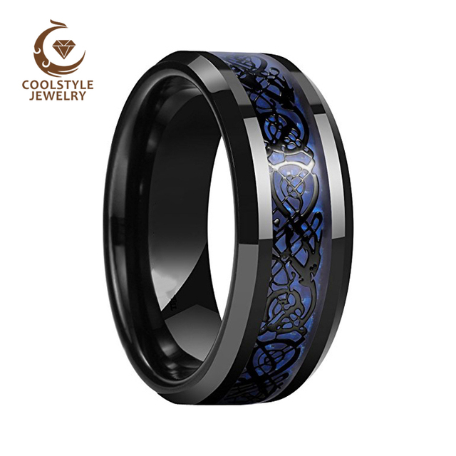 Dragon Men S 8mm Blue Carbon Fiber Black Inlay Tungsten Carbide Ring Wedding Band Engagement