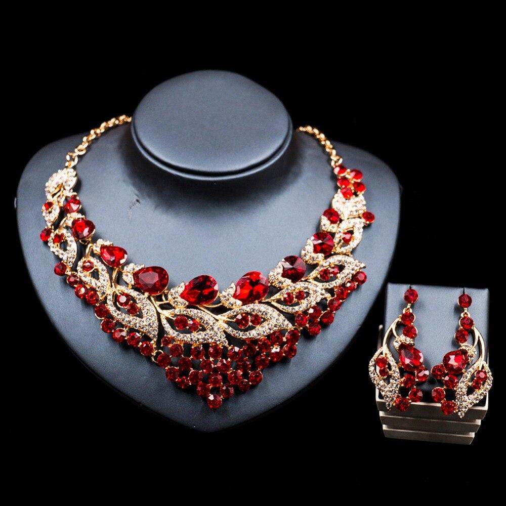 LAN дворец нигерийские бусы для женщин комплект ювелирных изделий цвет золотистый стекла ...