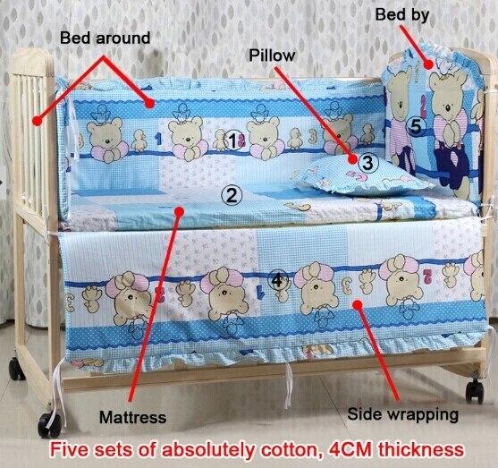 5PCS/SET Cotton Baby Bedding Set baby bedclothes Cot bed Sheet Cartoon crib bedding set include pillow bumpers mattress sabanas