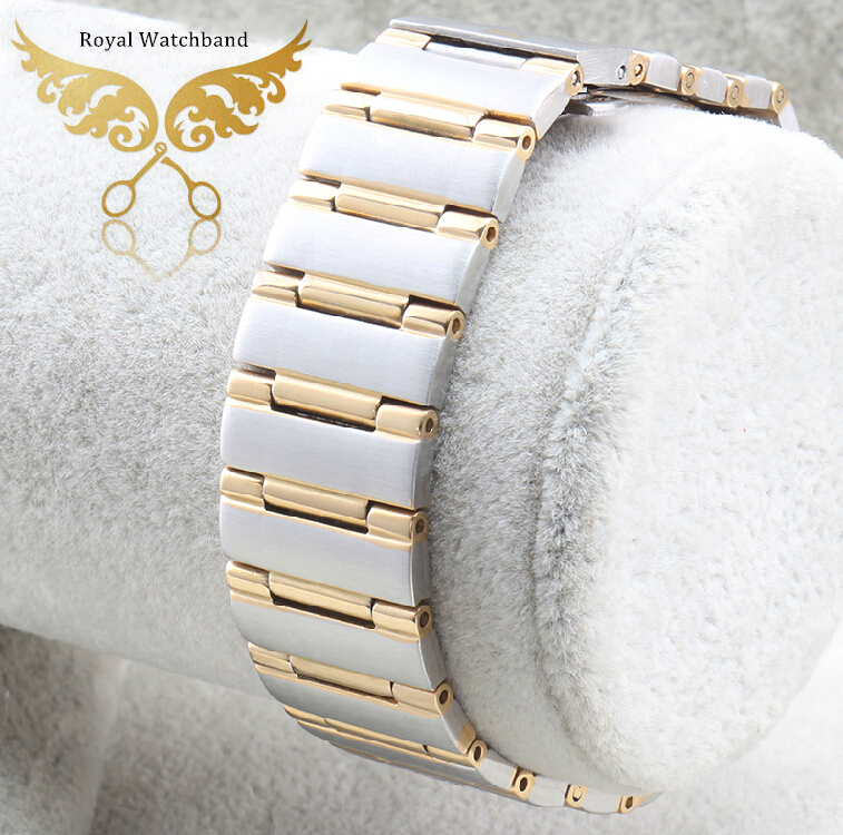 ФОТО 22mm*14mm Silver With Gold Men Style High Quality Polished Stainless Steel Watch Band Strap Bracelet Depolyment Steel Buckle