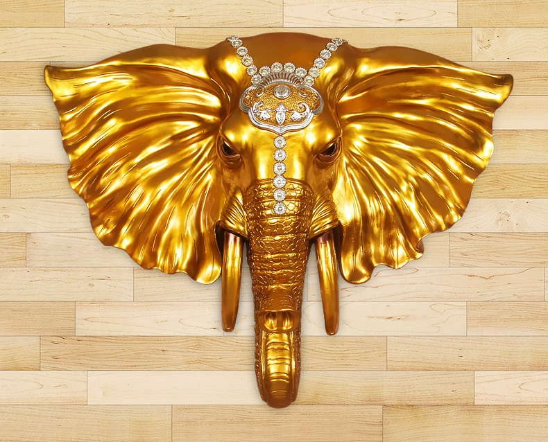 Elephant Pendant European animal head wall hanging retro wall Bar wall decoration elephant head wall decoration to attract money-in Wind Chimes & Hanging Decorations from Home & Garden    1