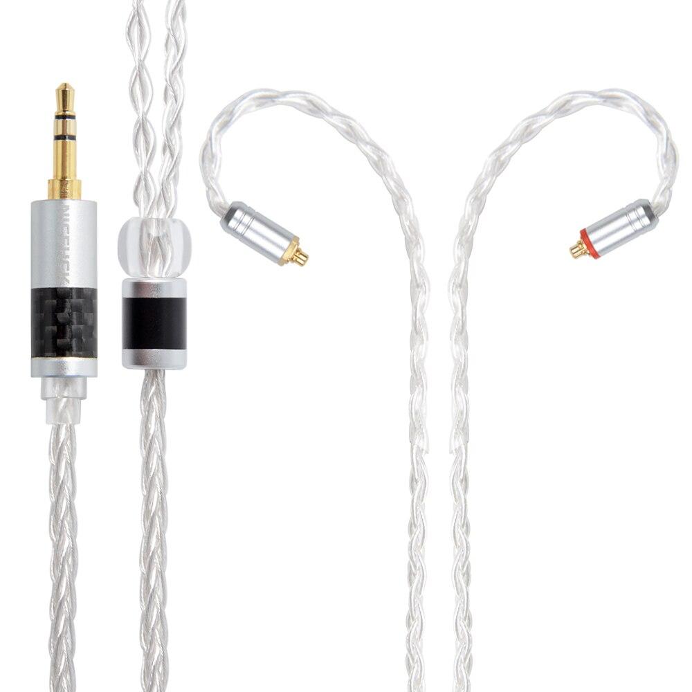 NICEHCK 8 Noyaux Pur Argent Câble 3.5/2.5/4.4mm Plug MMCX/2Pin Connecteur Écouteurs Mets Câble pour BA10 NICEHCK M6/N3 CCA C16
