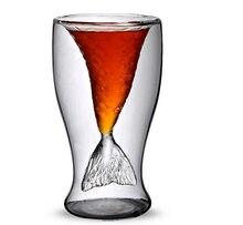Klar 100 ml Meerjungfrau Form Doppel Glas Wand Bier Wein Whisky Bier Cup und Becher für Bar Party Hochzeit Dekoration
