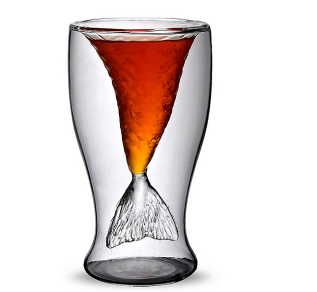 Clear 100ml Mermaid Shape Double Glass Wall Beer Wine Whisky Drinking Beer Mug for Bar Party Wedding Decoration