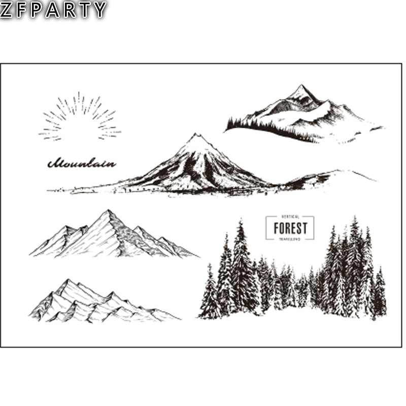 ZFPARTY Forest Mountain Transparent Clear Silicone Stamp/Seal for DIY scrapbooking/photo album Decorative Card Making lovely animals and ballon design transparent clear silicone stamp for diy scrapbooking photo album clear stamp cl 278