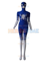 Classic Spiderman Costume Royal Blue & White Special Style Halloween Fullbody Spiderman Superhero Costume Free Shipping