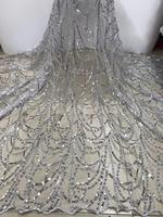 Fashion African Lace Fabric High Quality Silver Lace Nigerian Lace Fabric 2018 High Quality Lace With Beaded 5 Yards