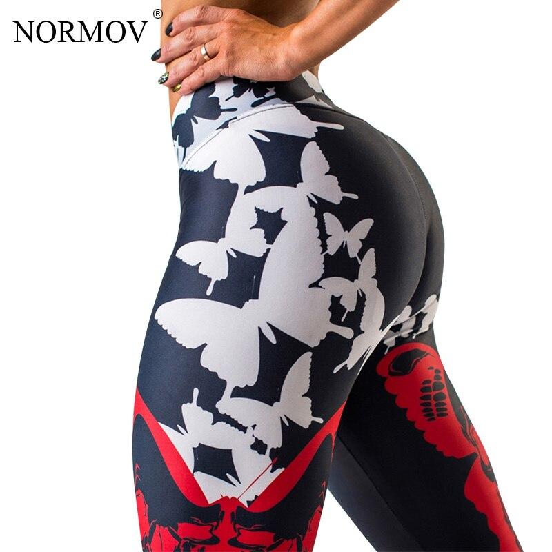 NORMOV Sexy Push Up Printed Leggings Women Butterflies Digital Print Workout Leggings Black High Waist Pants Trousers Female