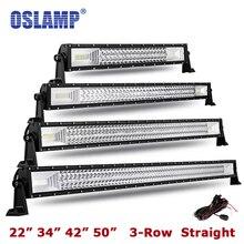 Oslamp Triple Row 22″ 34″ 42″ 50″ Straight LED Light Bar Offroad Combo Beam Work Light Led Bar Light for RV Truck SUV Car Pickup