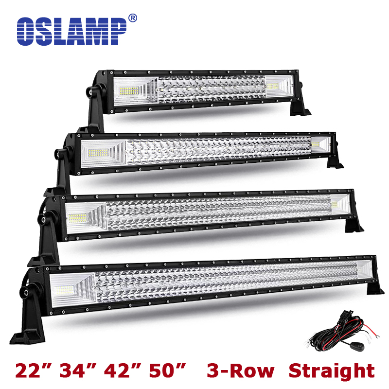 "Oslamp Triple Row 22"" 34"" 42"" 50"" Straight Led Bar Offroad LED Light Bar Combo Led Work Light Bar for Car ATV Truck 4X4 Pickup-in Light Bar/Work Light from Automobiles & Motorcycles    1"
