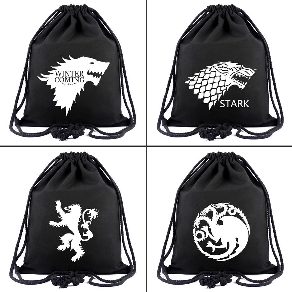 Game Of Thrones Canvas Drawstring Bags House Stark Backpack Women Fashion Cosmetic Container Casual Beach Bag Simple Shoes Pouch