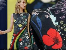 Flower Garden Search Rainbow Heavy Silk Digital Printed Fabric Elastic Heavyweight Clothing Fabric,B489B