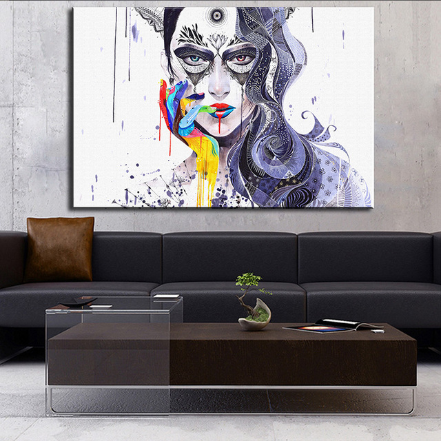 Aliexpress.com : Buy THINK DP ARTISAN Modern wall art beautiful girl ...