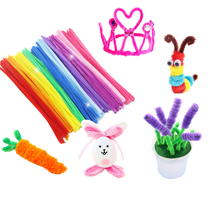100Pcs/Set Plush Stick Rainbow Colors Twist Stick Stick DIY Toys For Girls Handmade Art Creativity Baby Children Toy Gifts