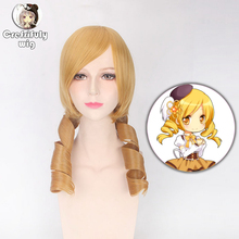 2019 Japanese Anime Tomoe Mami Puella Magi Madoka Magica Wavy Golden Cosplay Wig Synthetic Hair Costume Woman Wigs недорого