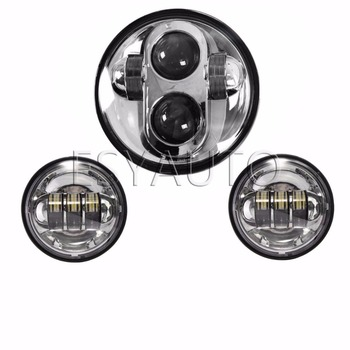 3pcs 5.75'' LED Motorcycle Headlight Hi/Low Beam Offroad HeadLamp plus 4.5inch Fog Light for Softail Dyna Models