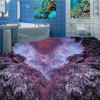 Beibehang Beautiful Fairyland Coast Stone 3D Living Room Bathroom Floor Custom Large Pvc Wear Waterproof To