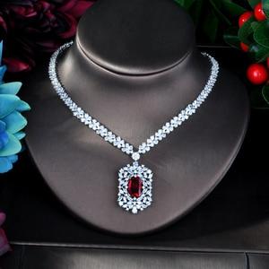 Image 3 - HIBRIDE Juego de joyas para mujer, juego de joyas de circonia cúbica roja, accesorios de mujer, diseño geométrico, regalos de joyería N 946
