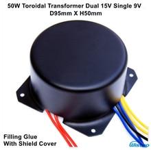 IWISTAO Toroidal Transformador 50 W Dupla 15 V Único 9 V Cola De Enchimento com Escudo Tampa Núcleo de Importação para HIFI DAC Headphone Amp Preamp
