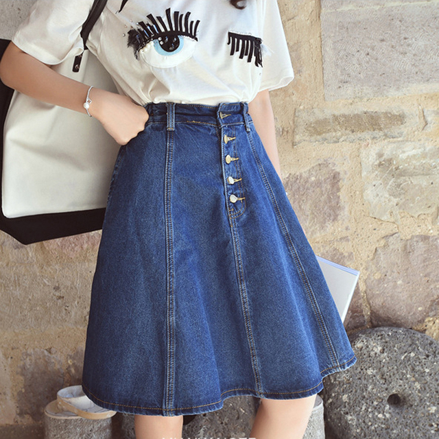 Spring Autumn Jeans Skirt Denim Skirts Knee Length High Waist Jean School Girl