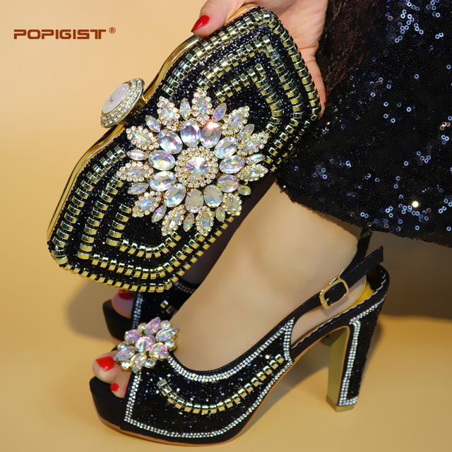 Italian Shoe With Matching Bag For Party With Stones Wedding Shoes And Bag Set High Quality Women Pumps Black color PU leather